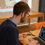 Andrew on laptop